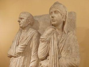 Rilievo funerario da via Statilia (dettaglio di due coniugi)