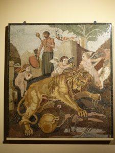 Mosaico con leone e amorini