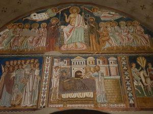 La controfacciata dell'oratorio di san Silvestro. In alto, Cristo giudice, Maria, san Giovanni e gli apostoli. Sotto, le storie di Silvestro I e Costantino