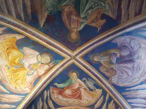 Affreschi di Benozzo Gozzoli nella cappella di San Girolamo, volta con i quattro Evangelisti e i loro simboli