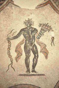Villa dei Mosaici di Spello, dettaglio di stagione della Sala del Triclinio