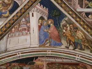 Cappella di Palazzo Trinci a Foligno, Affresco di Ottaviano Nelli, Scena dell'incontro di Gioacchino e Anna