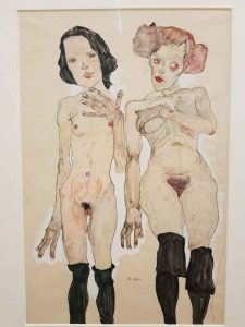 Egon Schiele, Two naked girls with black stockings