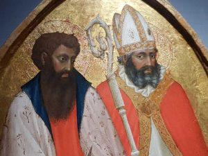 Masaccio, Trittico di San Giovenale, dettaglio dei volti dei santi Bartolomeo e Biagio