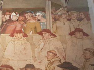 Ambrogio Lorenzetti, Ludovico di Tolosa si conceda da papa Bonifacio VIII - dettaglio degli astanti