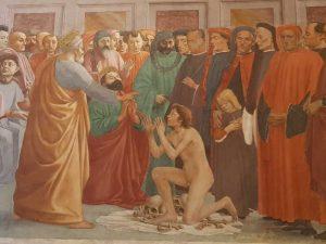 Cappella Brancacci, Masaccio e Filippino Lippi, La resurrezione del figlio di Teofilo e san Pietro in cattedra - dettaglio