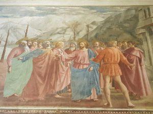 Cappella Brancacci, Masaccio, Il tributo - dettaglio