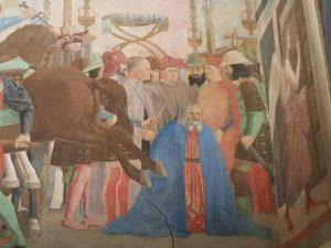 Piero della Francesca, Cappella Maggiore della chiesa di San Francesco, Battaglia di Eraclio e Cosroè, dettaglio della decapitazione di Cosroè