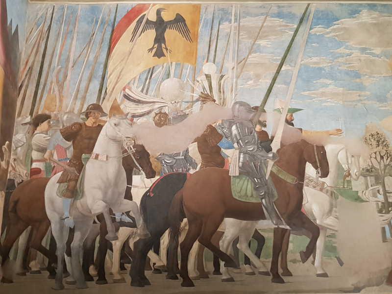 Piero della Francesca, Cappella Maggiore della chiesa di San Francesco, Vittoria di Costantino su Massenzio - dettaglio