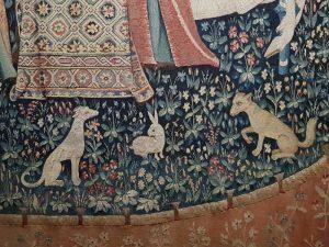 Dama con l'unicorno, l'udito - dettaglio degli animali