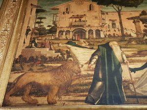 La Scuola Dalmata di Venezia, Vittore Carpaccio, San Girolamo conduce il leone nel convento - dettaglio del santo e del leone