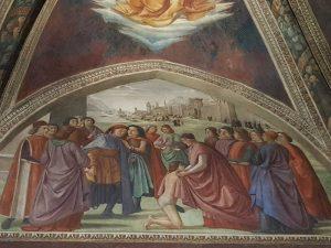Domenico Ghirlandaio, cappella Sassetti, Scena della rinuncia ai beni terreni. Sullo sfondo Lione o Ginevra