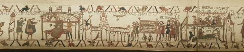 Da sinistra: Harold riferisce a re Edoardo della sua missione in Normandia da Guglielmo; funerali di re Edoardo nella cattedrale di Westminster; malattia e morte di Edoardo