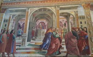 Cappelle di Firenze. Cappella Tornabuoni di Domenico Ghirlandaio, Cacciata di Gioacchino dal Tempio