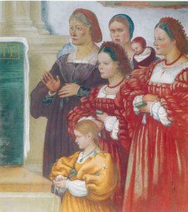 Storie di santa Brigida - dettaglio della famiglia di Maffeo Suardi