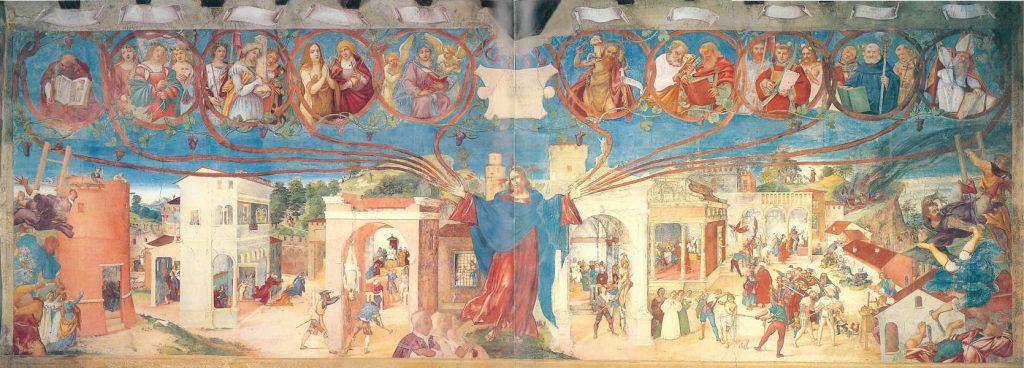 Cappella Suardi, parete di sinistra, Cristo vite e storie di santa Barbara