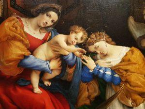 Lorenzo Lotto, Nozze mistiche di santa Caterina d'Alessandria - dettaglio. Lorenzo Lotto a Bergamo