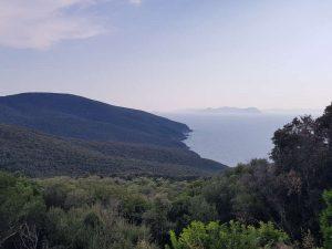 Panorama dall'acropoli di Populonia, all'orizzonte l'isola d'Elba