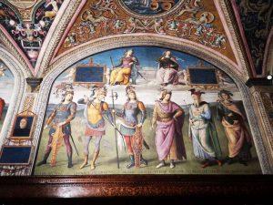Sala delle Udienze. Pietro Perugino, Guerrieri romani