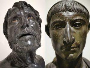 Busti provenienti dalla Villa dei Papiri di Ercolano. A sinistra Pseudo Seneca, a destra Ritratto virile