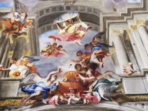 Andrea Pozzo, Trionfo di Sant'Ignazio. Dettaglio dello specchio con il trigramma IHS